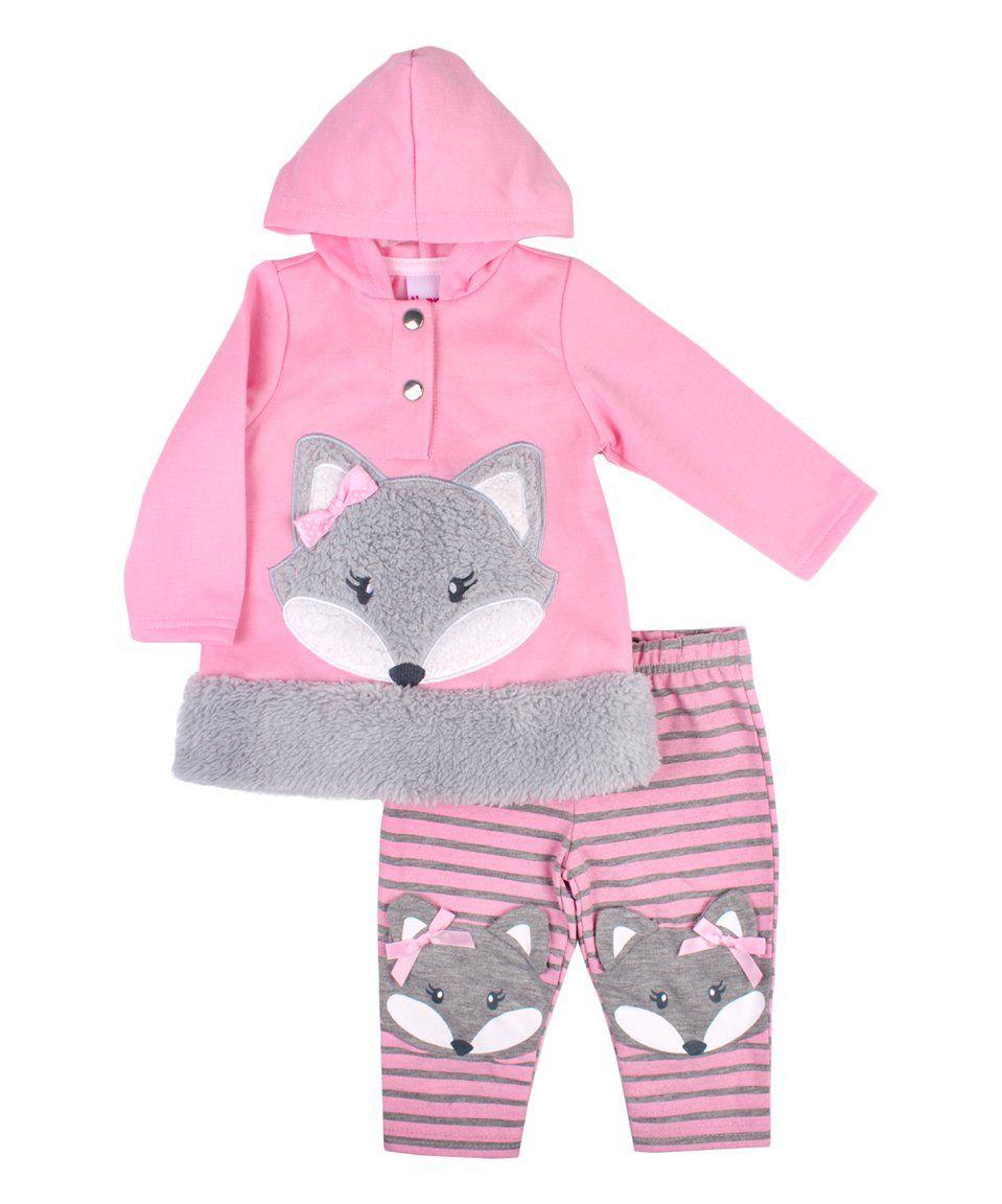 85a5c1c35684 Take a look at this Pink Fox Hoodie   Stripe Leggings Set - Infant ...