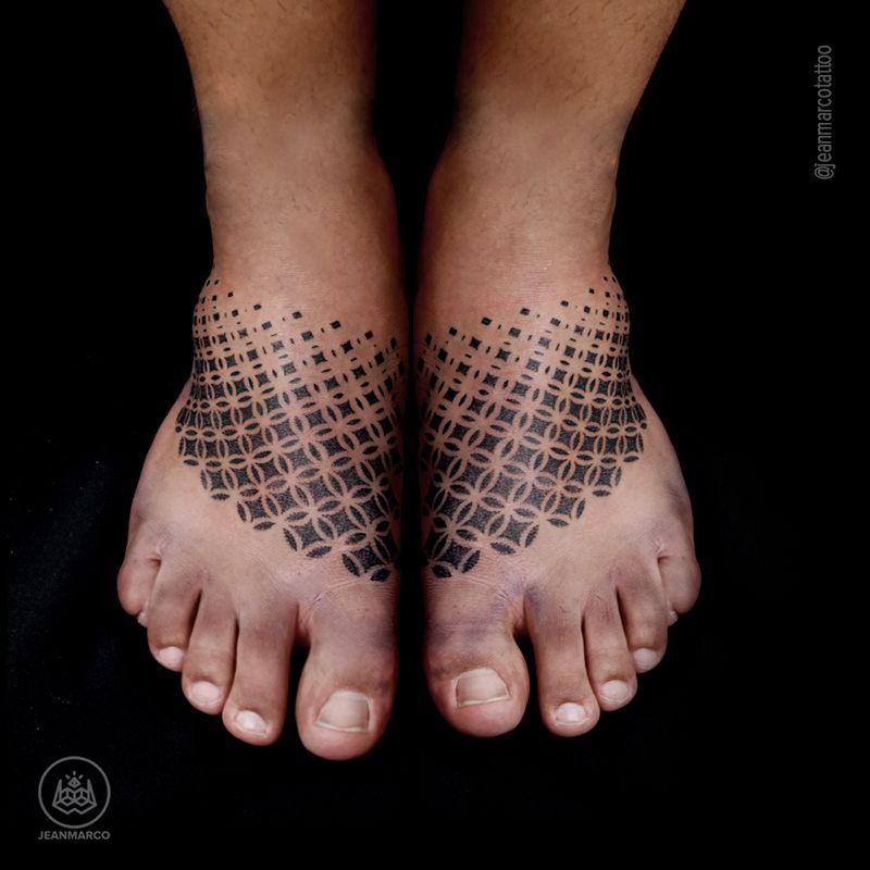 Geometric Pattern Foot Tattoo Geometric Foot Tattoo Tattoos