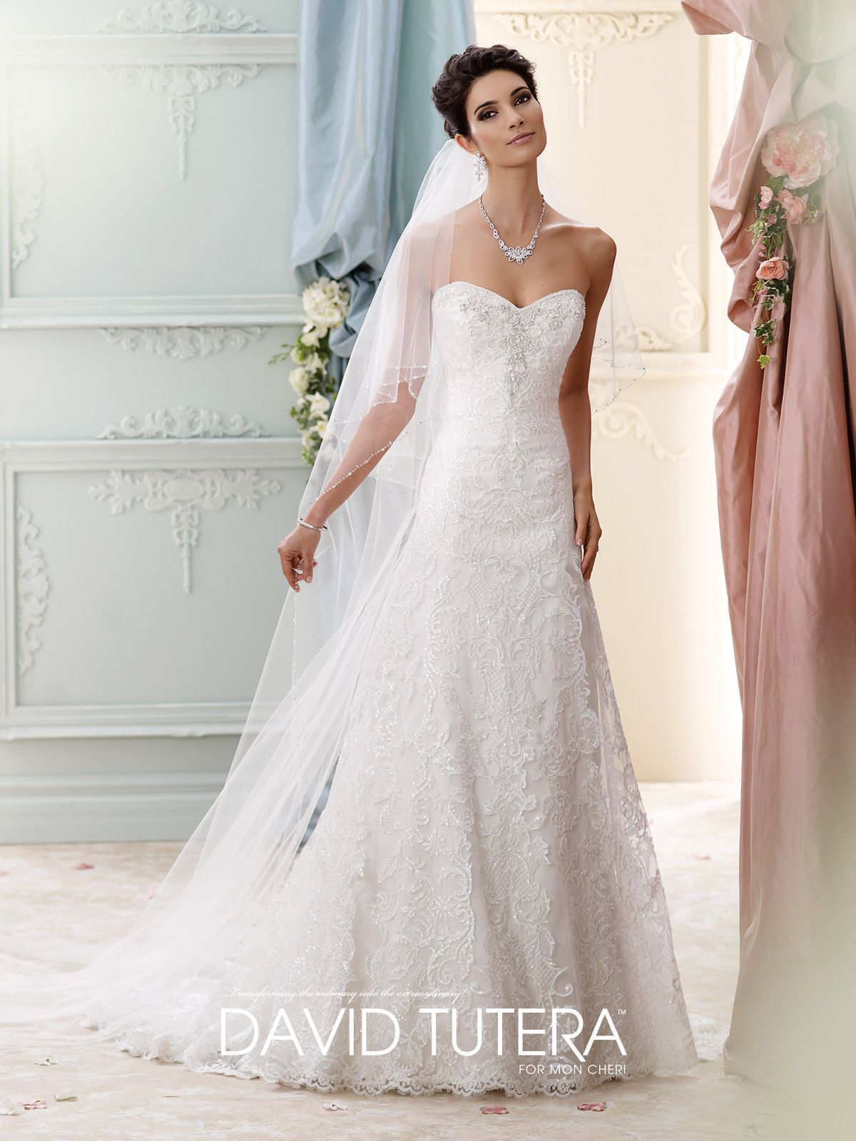 Allover sequin lace and tulle over luxurious satin detachable