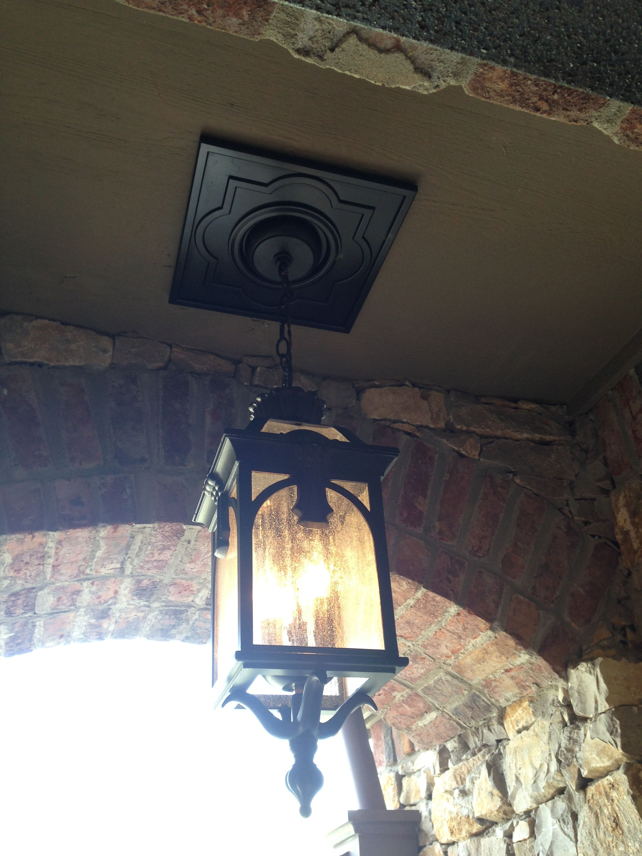 Outdoor Pendant Light With Square Ceiling Medallion Pendant