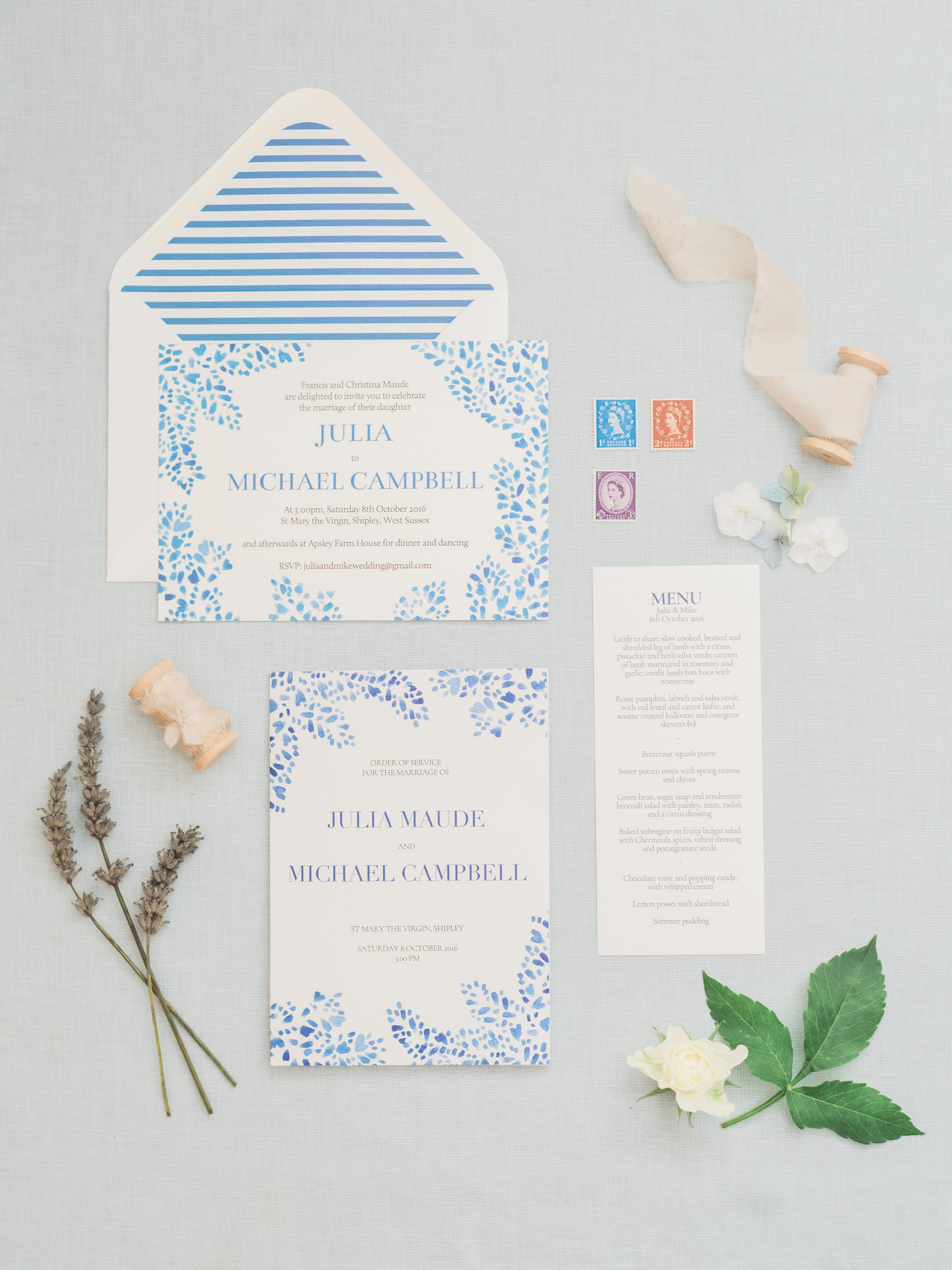 Blue Watercolour Wedding Stationery Wedding Inspiration