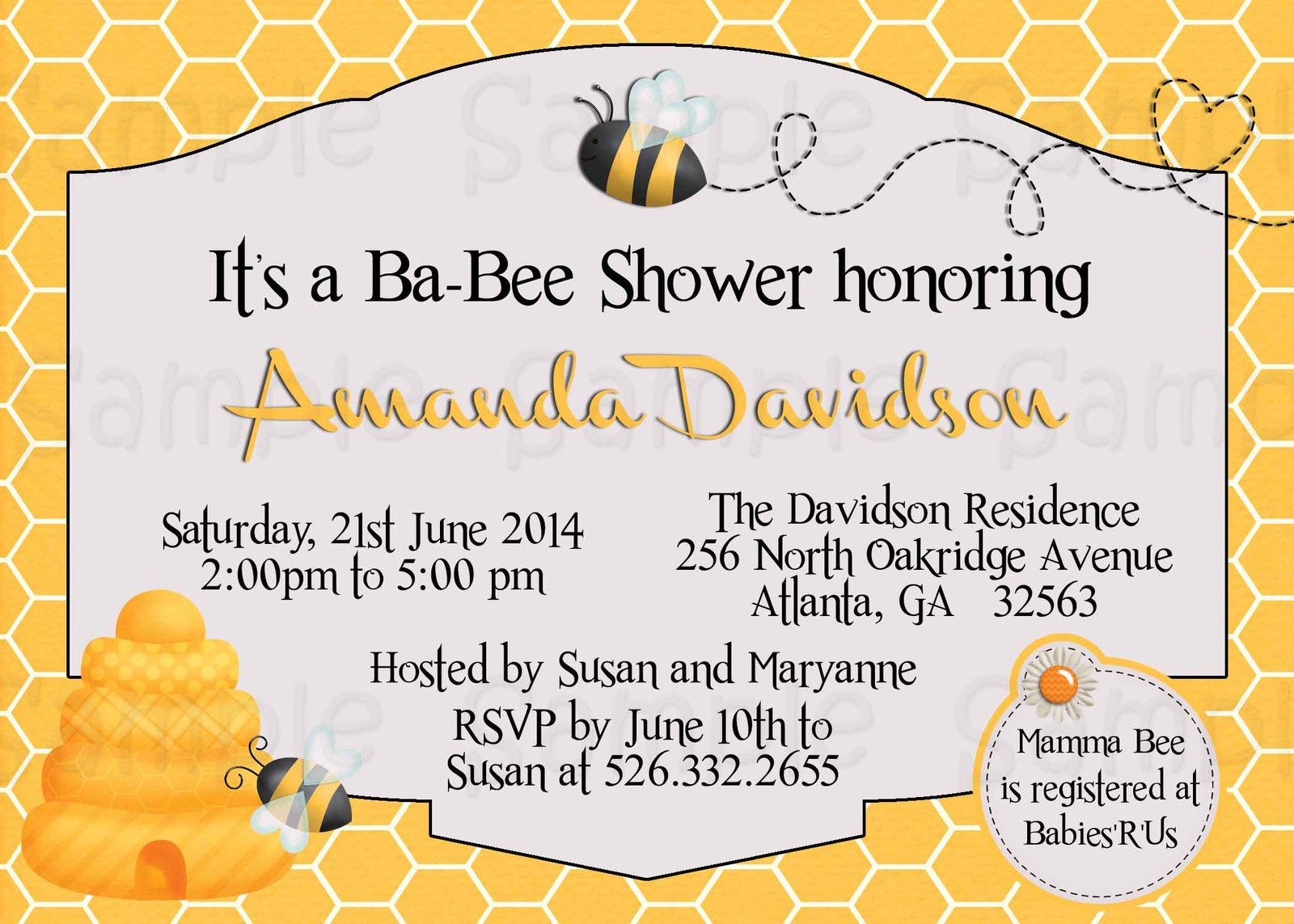 Bumble Bee Baby Shower Invitations | Custom Bumble Bee Baby Shower ...