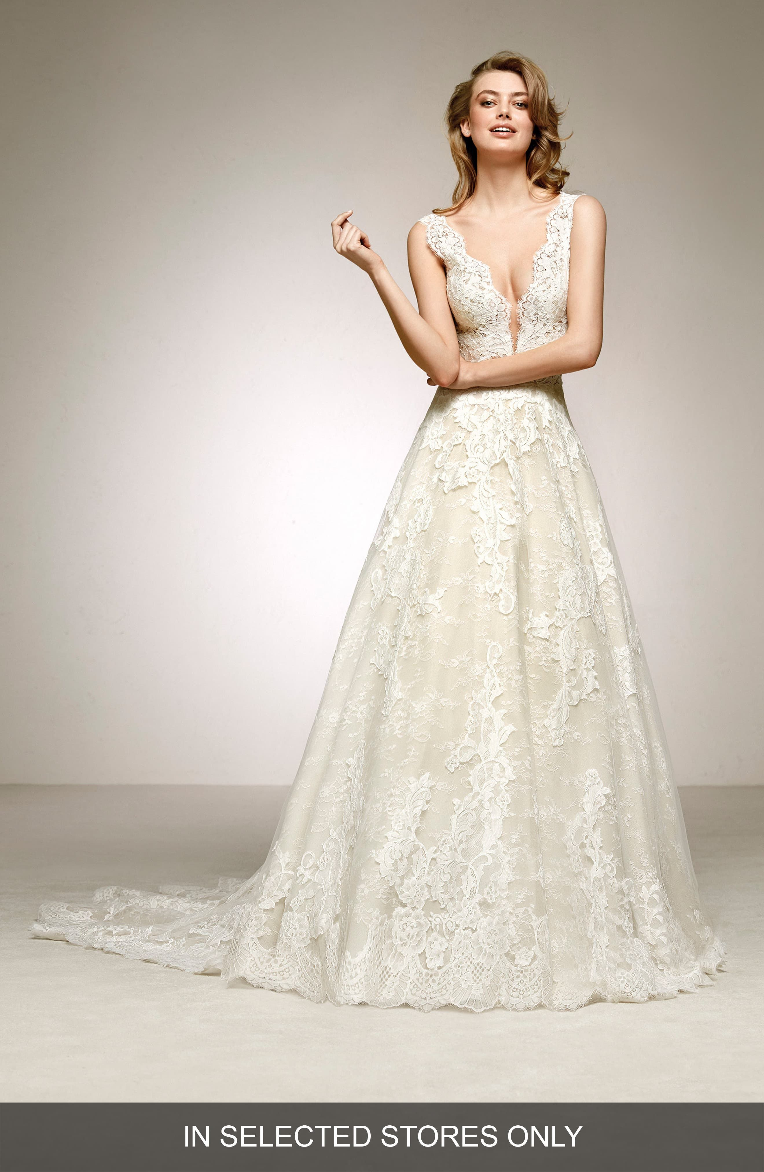 Women's Pronovias Devany Plunge Lace A-Line Gown, Size IN STORE ONLY - Ivory