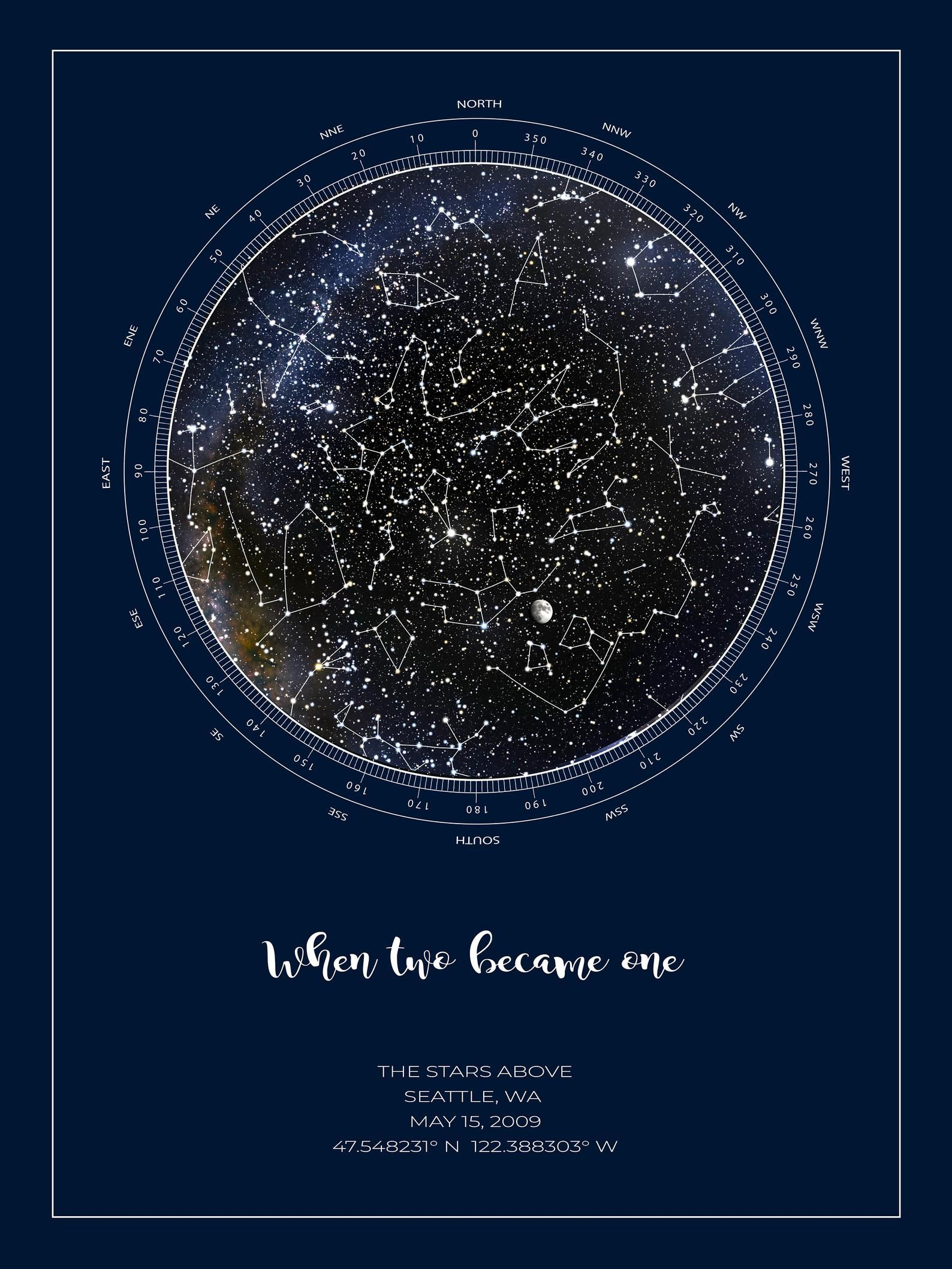 Personalized Star Map Realistic Night Sky Map Custom Star Poster