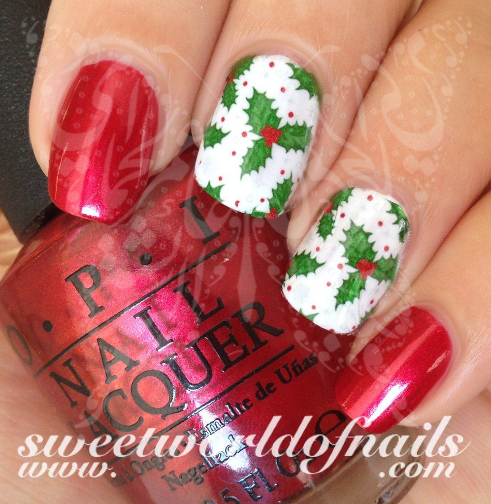 Christmas Nail Art Holly Water Full Wraps Transfers Wraps Water
