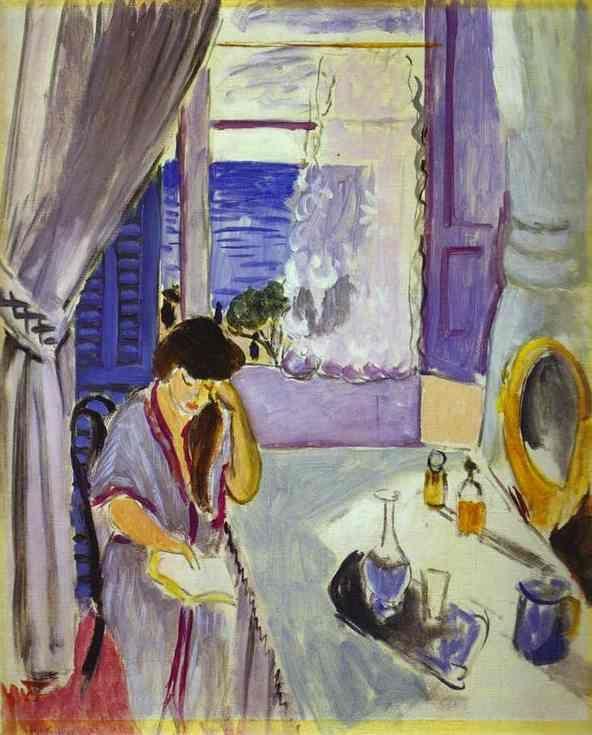 Henri Matisse - Woman Reading at a Dressing Table (1919). Foi quando se mudou para Nice que se começou a distanciar do fauvismo, começando à procura de harmonia e paz de espírito.