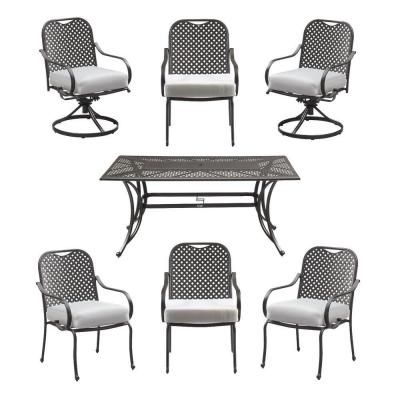 hampton bay fall river 7 piece patio dining set with bare cushion