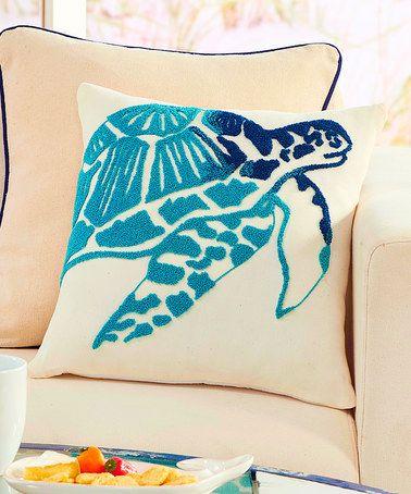 Look at this zulilyfind Blue Sea Turtle Throw Pillow zulilyfinds