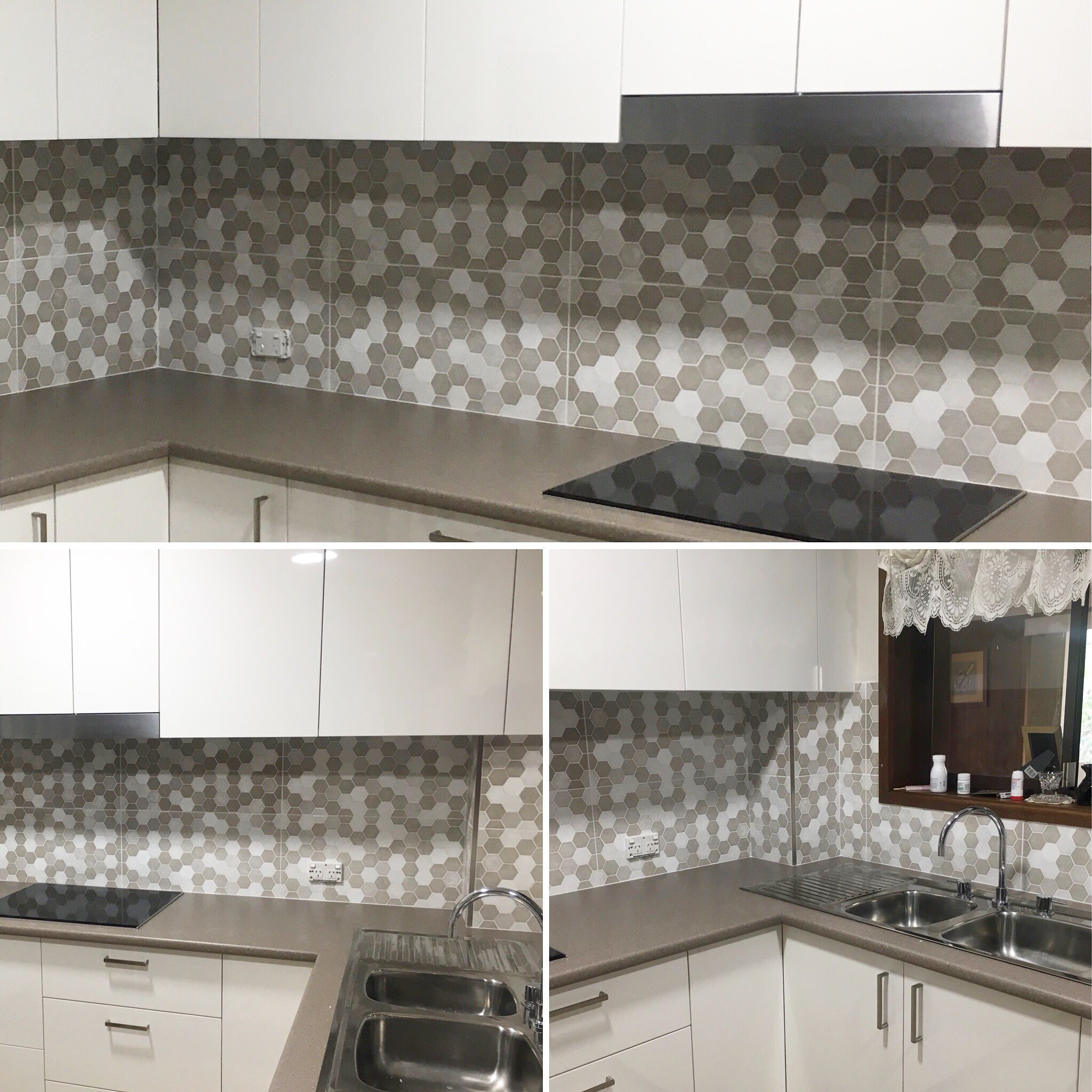 Beautiful Backsplash in hexagon love seeing customers ideas finished love happy customers tpghtiles