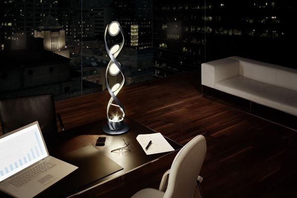 Aluminium DNAShaped Light Sculpture The PirOLED from OSRAM Lamp