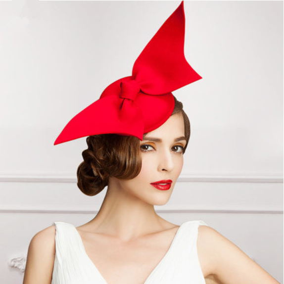 Red Wedding Hats For Women Oversized Bow Decoration Fascinator Hat