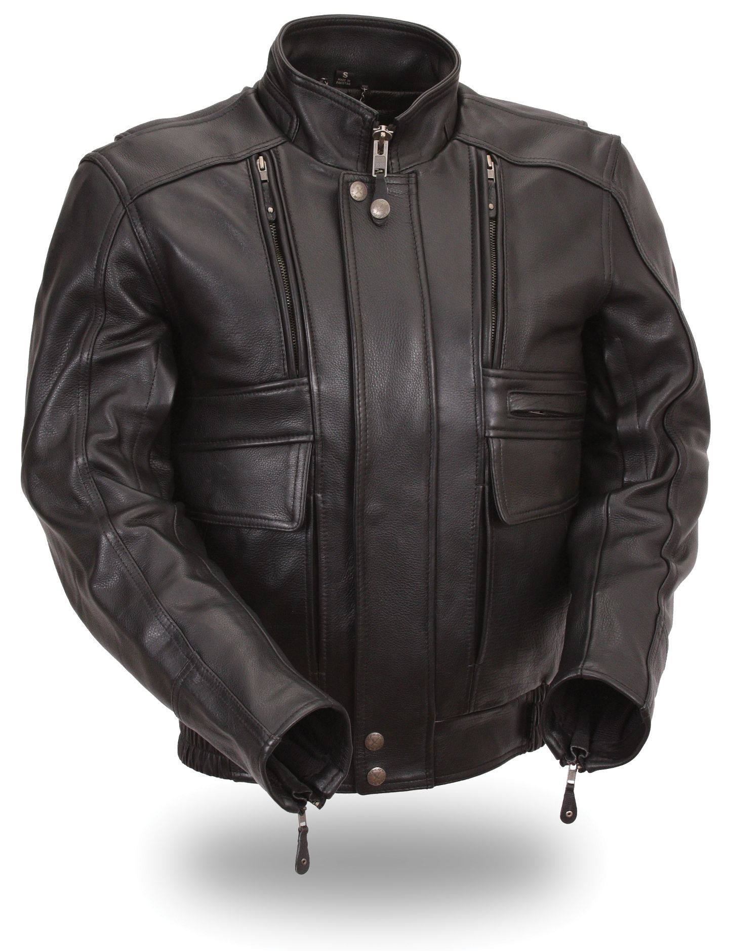 Mens Premium Naked Leather Motorcycle Jacket by First Mfg.  www.mymotorcycleclothing.com