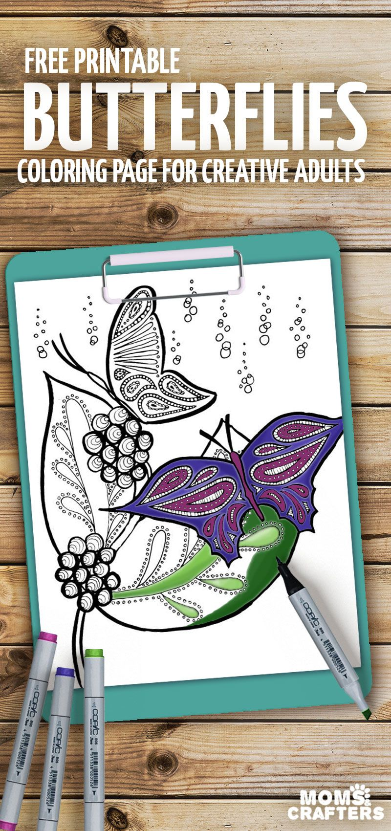 This beautiful butterfly coloring page is relaxing to color | Free ...