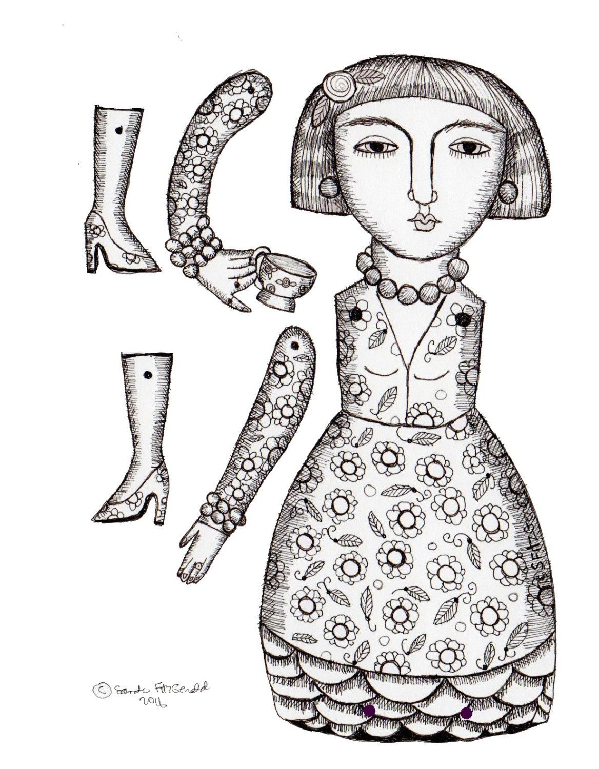 Color your own Digital download diy papercraft paper doll