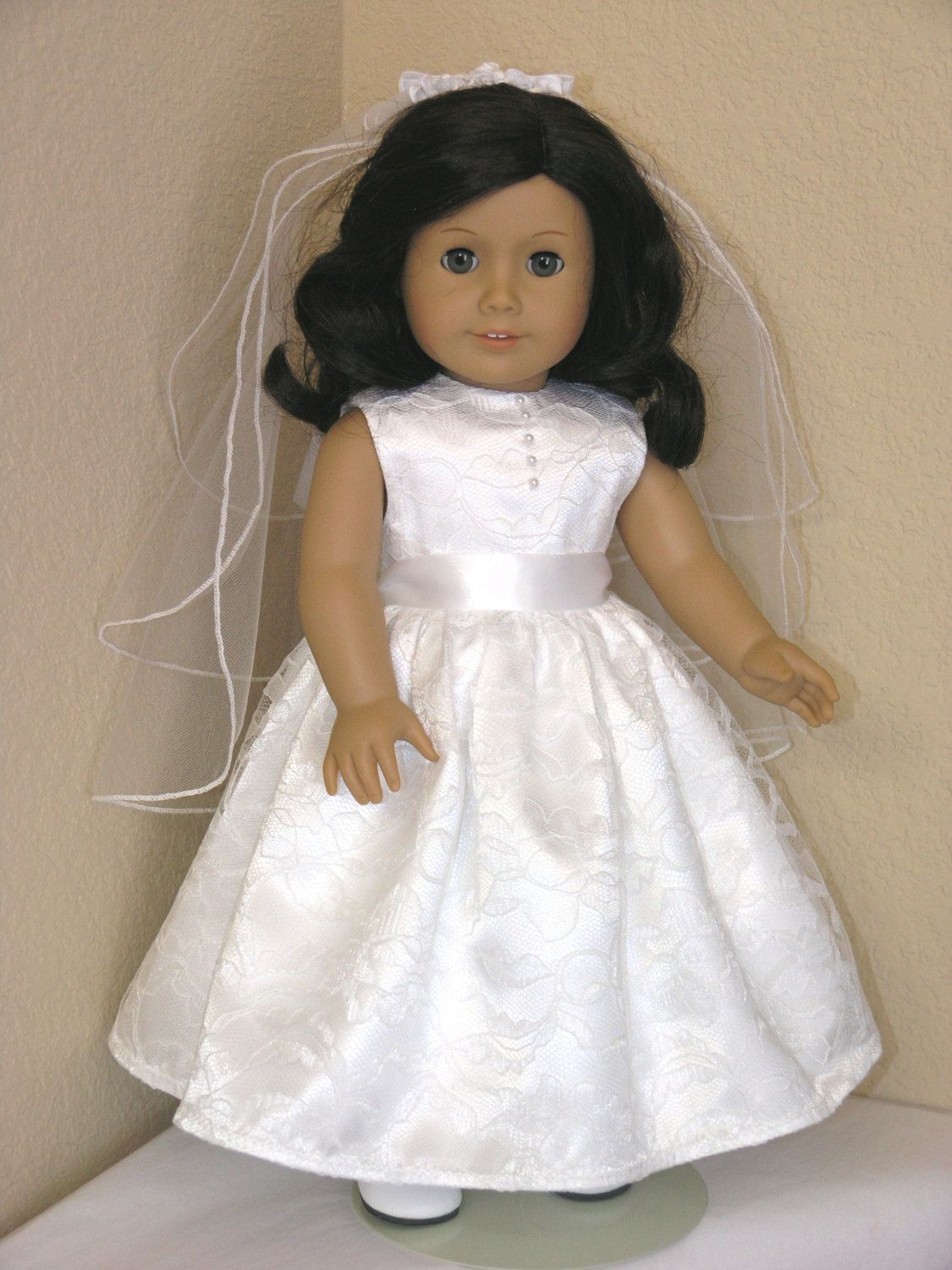 First Communion 18 Inch American Girl Doll Dress Pantalettes Veil