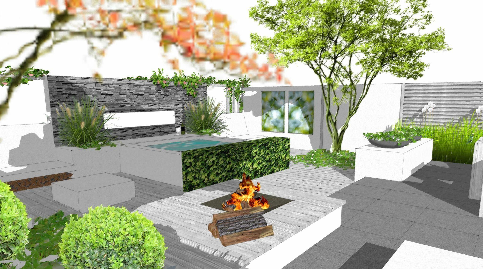 Tuinontwerp SketchUp Onderhoudsarme Mediterrane tuin met jacuzzi