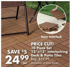 interlocking polywood deck patio tiles 10 pack from big lots