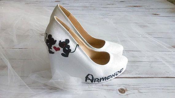 Minnie und Mickey mouse Ventilator Kunst high Heels. Weiß