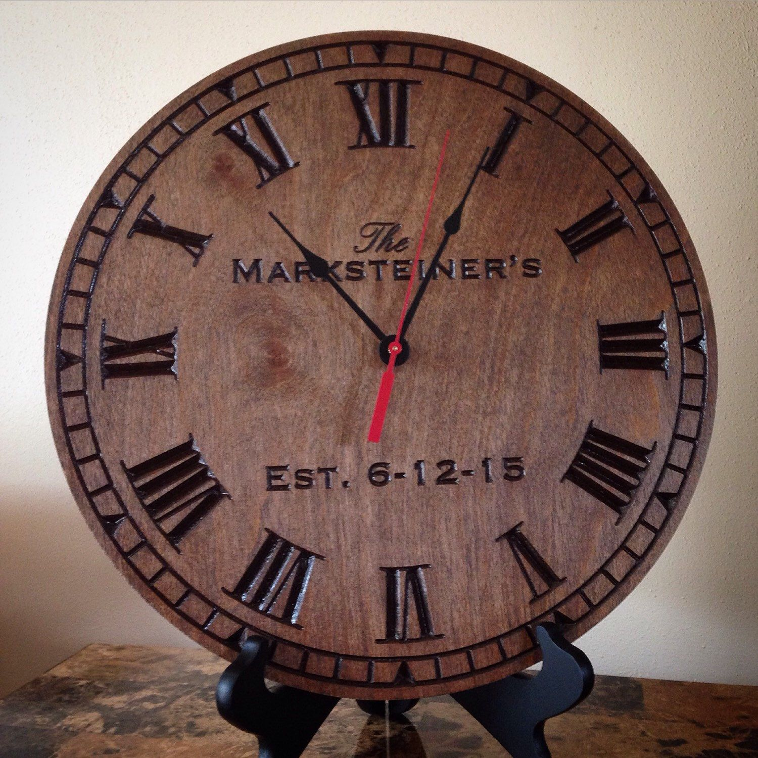 Am americana country wall clocks - Personalized Clock Carved Engraved Wedding Gift Anniversary Gift Home Decor Wall Clock Established Gift Wood Engraved Gift