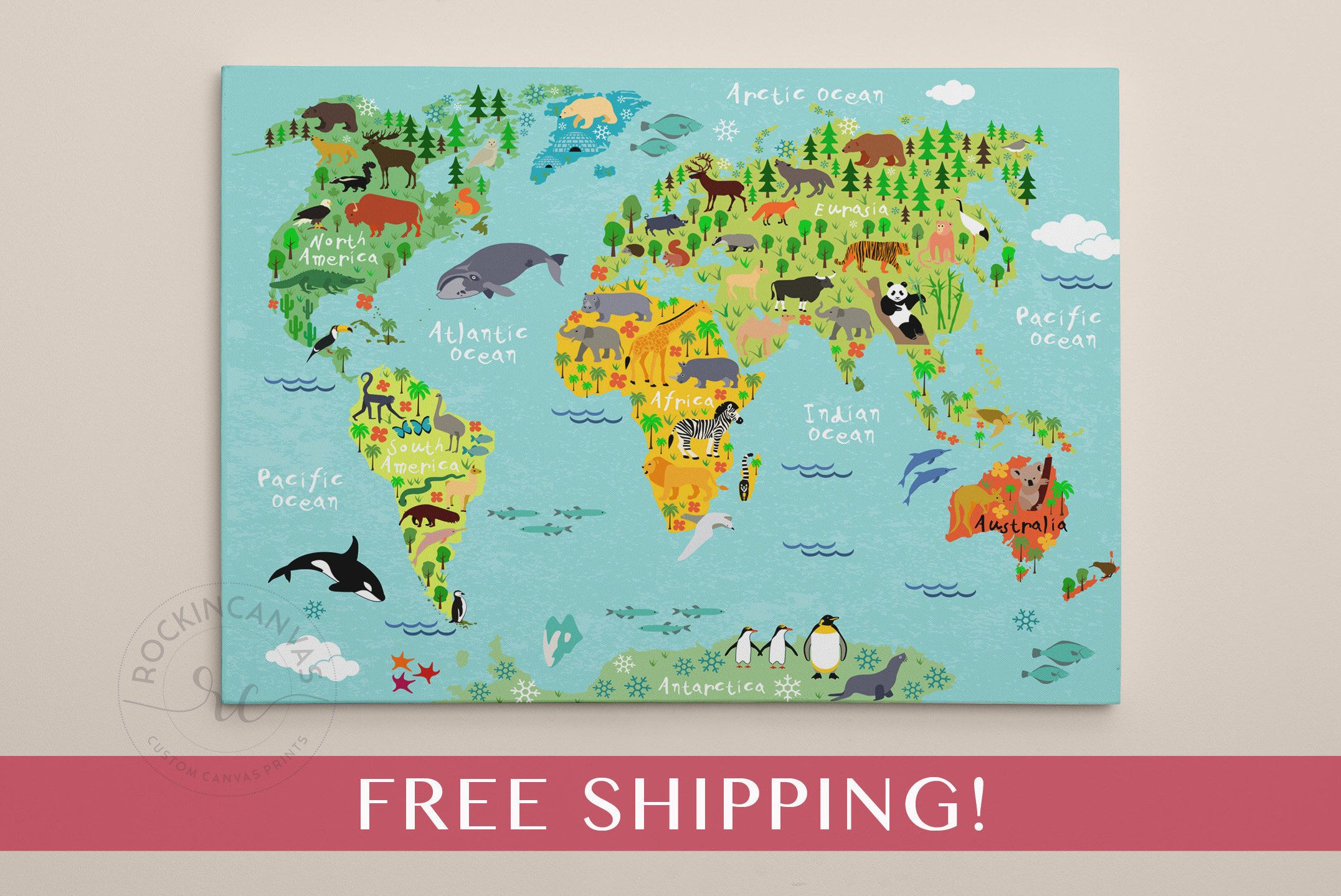 Children S World Map Print World Map On Canvas Nursery Wall Art