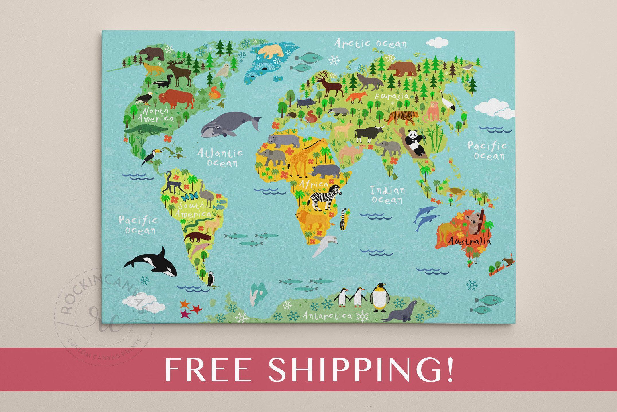 Children S World Map Print World Map On Canvas Nursery Wall Art