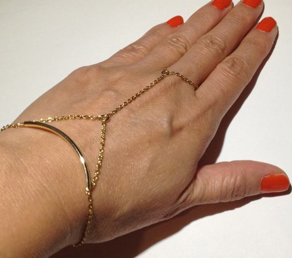 Gold Chain Linked Ring Bracelet with Tube Bead  Hand by ECRUmetal, $49.00