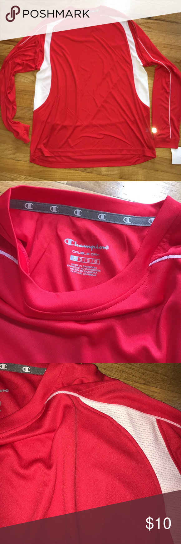 Mens champion top Dry fit material. New with tags. White and red Champion Shirts Tees - Long Sleeve