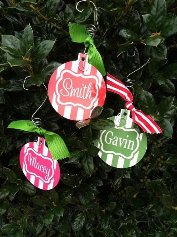 personalized christmas tree ornament gift tag family name