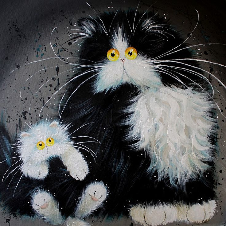 Ким Хаскинса - История двух кошечек (900x901)