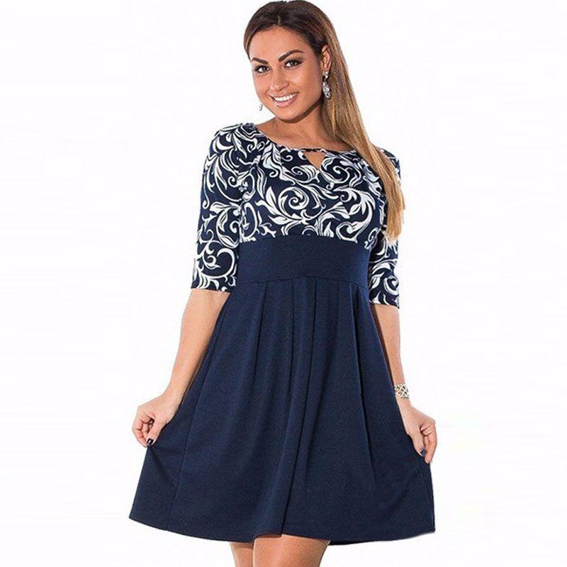 Große Größe 6XL Sommer Kleid 2016 Plus Größe Midi-kleid Lässig ...