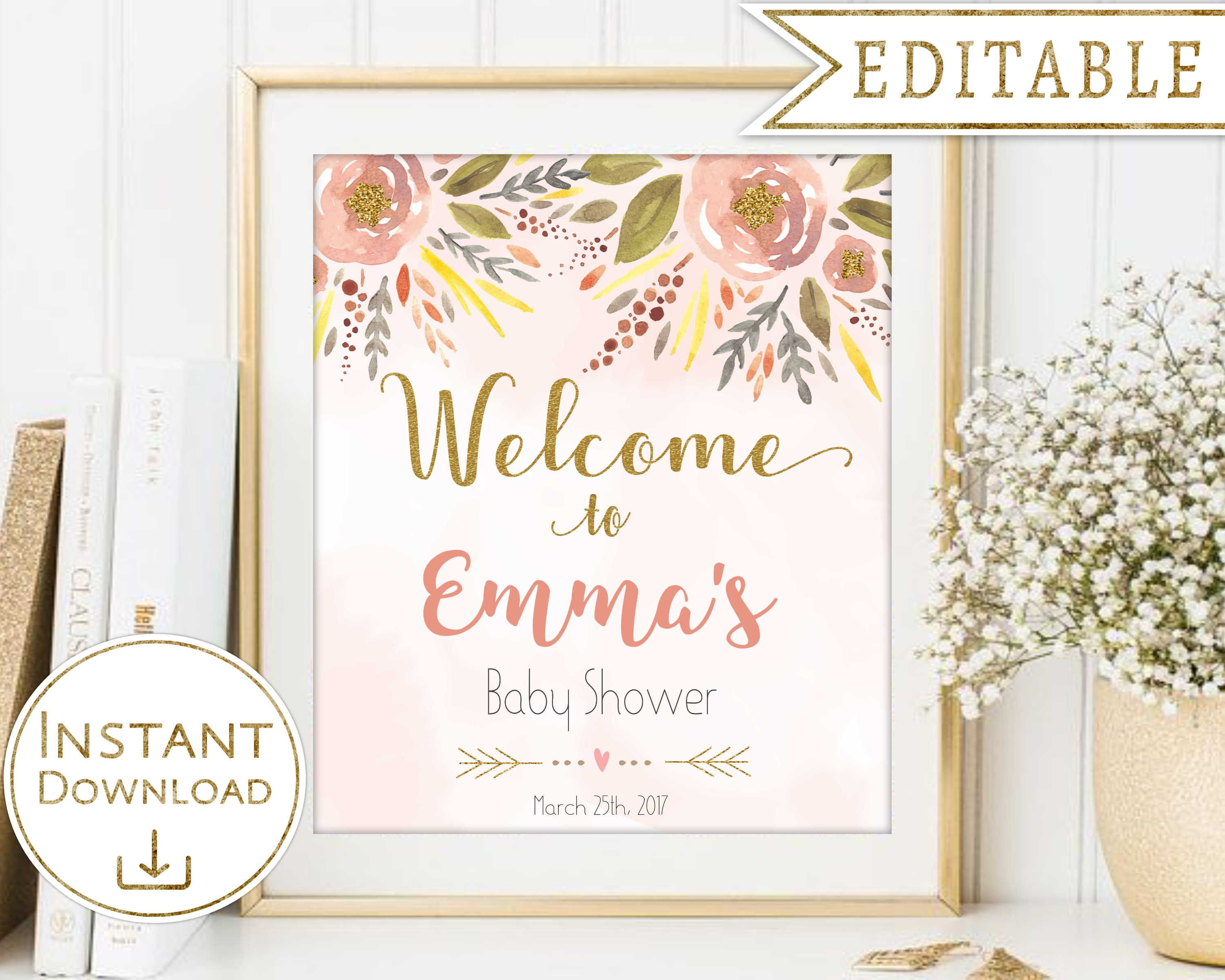 Wel e Sign Baby Shower Wel e Sign printable Floral Peach Gold