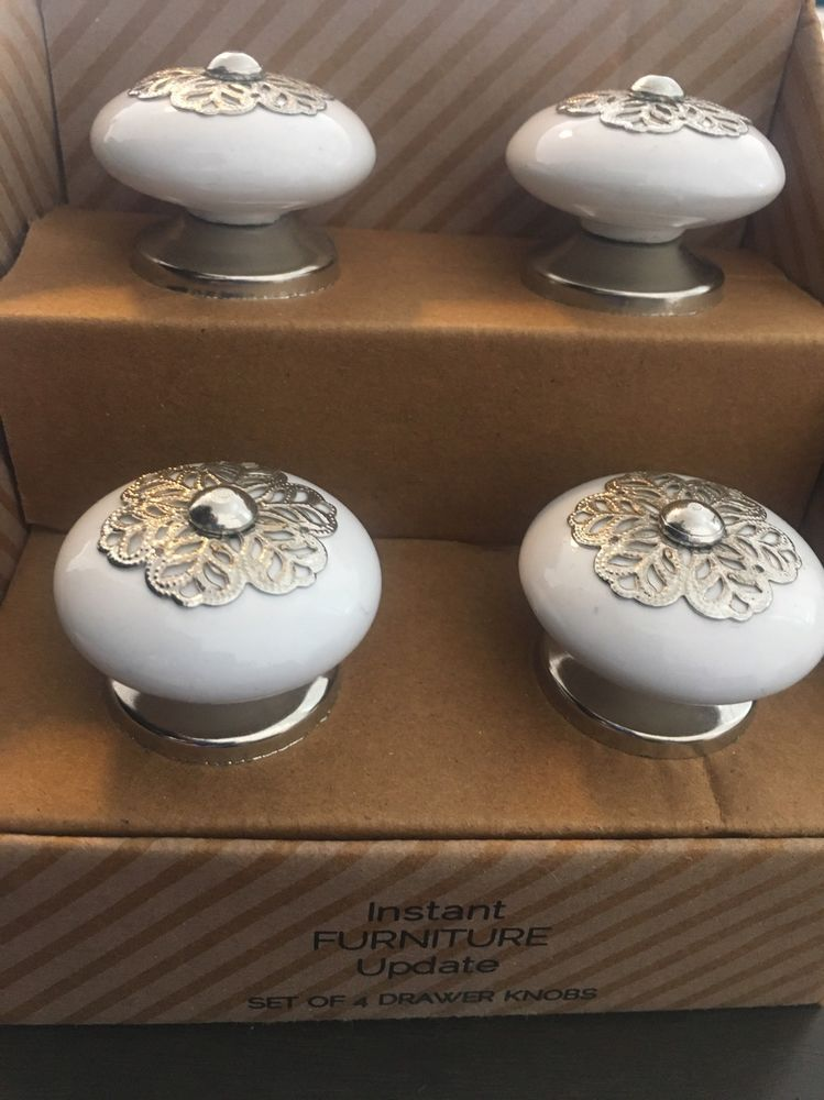 Drawer Pulls Instant Furniture Update Set Of 4 White Silver Handmade S Instantfurnitureupdate Drawers Vintage Diy Decoration Home