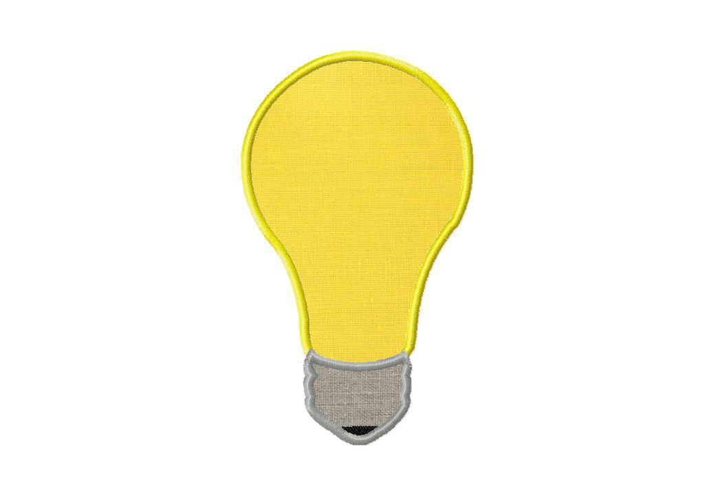 Light Bulb Embroidery Design Includes Both Applique and Fill Stitch