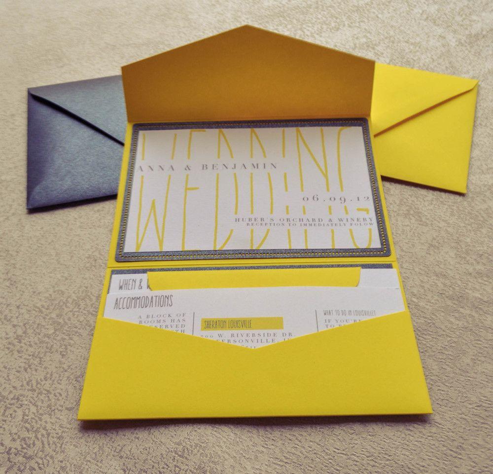 The Anna Rectangular Rectangle Wedding Invitation Bright Yellow