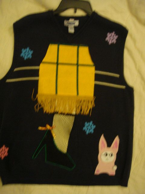 man s large ugly christmas sweater leg lamp pink bunny ralphie trees movie office funny laughs winner by keriblue4 on etsy