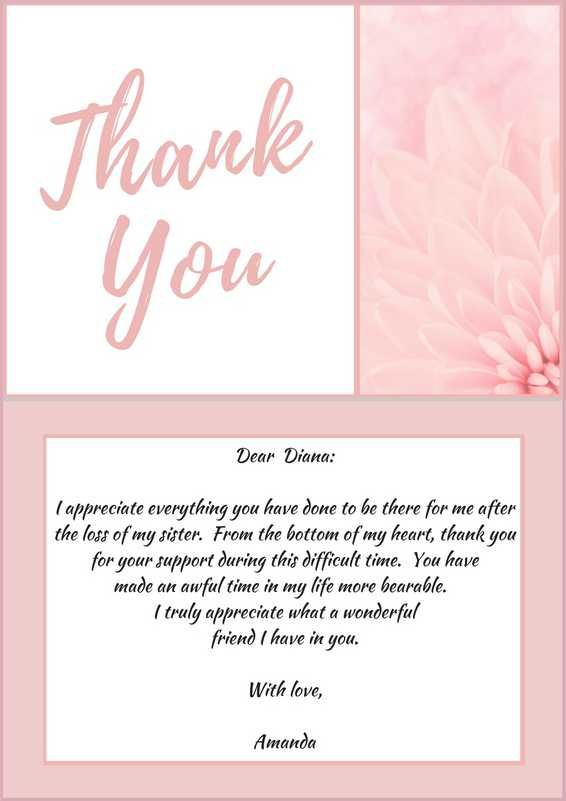 Sample Wording For A Funeral Thank You Note Friend Who Provided With Bereavement Support Click More Card Samples