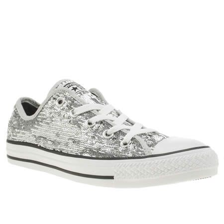 womens converse silver all star holiday party ox trainers