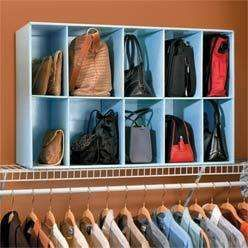 purse holder for closet ! This will work too. Purse organizer cubes for top shelf in closet
