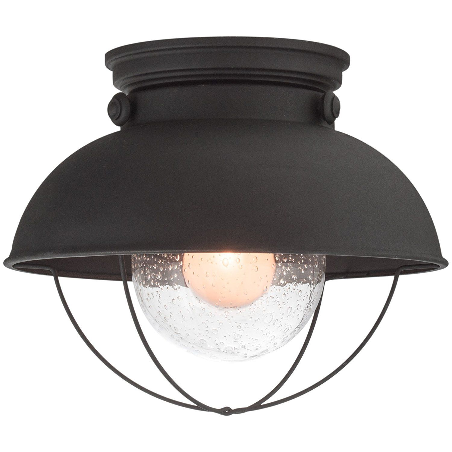 Revel Bayside 11 Industrial Flush Mount Ceiling Light Seeded Glass Shade Matte Black Finis Outdoor Ceiling Lights Light Fixtures Flush Mount Ceiling Lights
