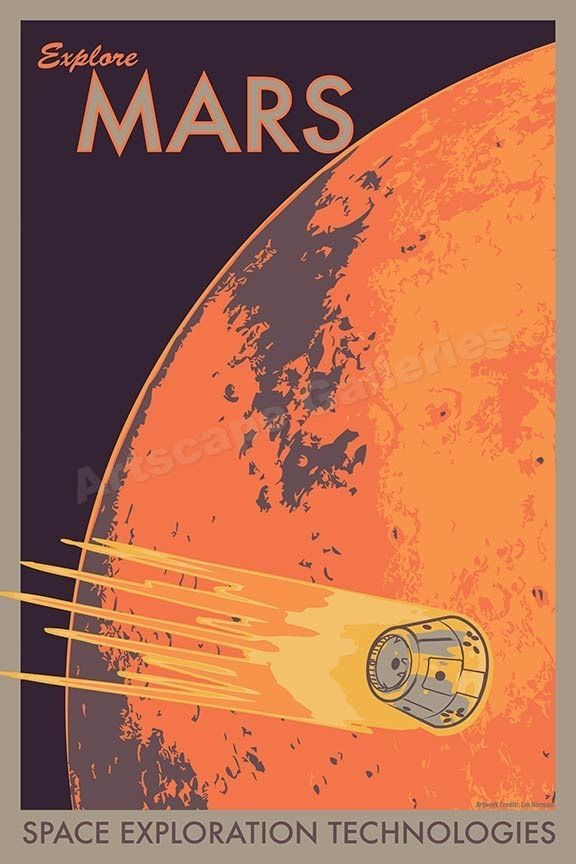 "Details about ""Explore Mars"" Space Exploration Retro Outer Space Travel Poster - 16x24"