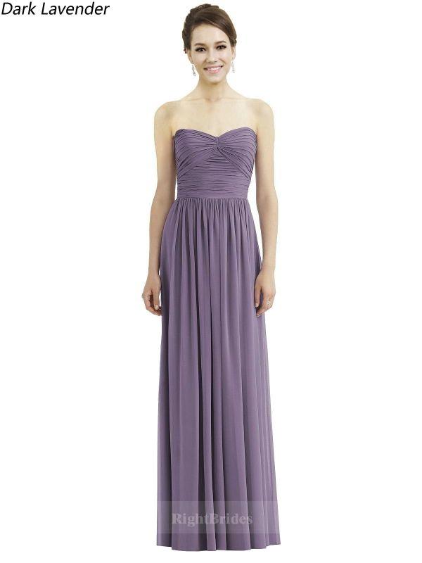 Hot Style Long Chiffon Sweetheart Dark Lavender Sleeveless ...