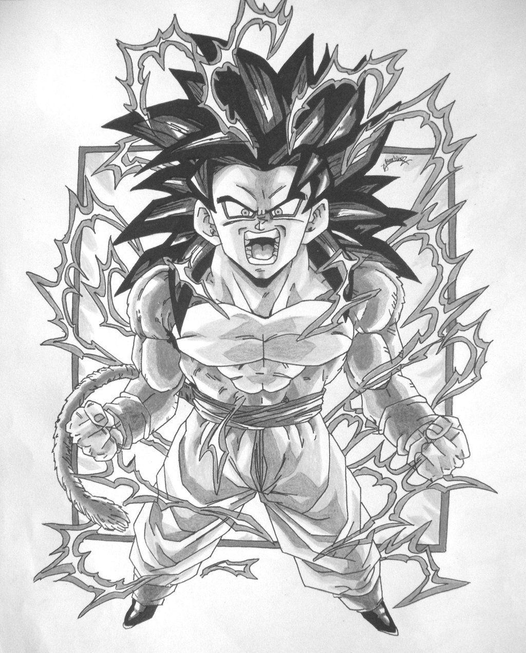dbz gt character drawings | Dragonball GT Black and White Goku SS4 ...