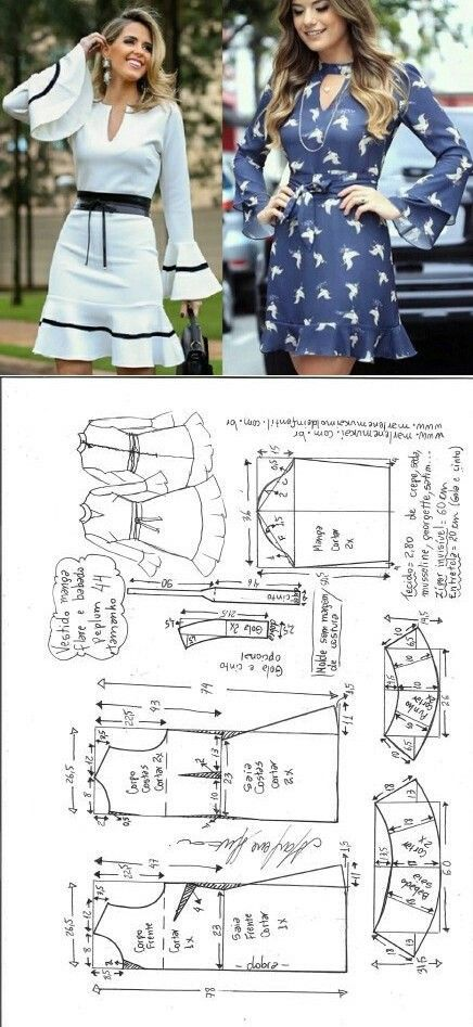 Vestido peplum com manga flare | Costura, Patrones y Molde