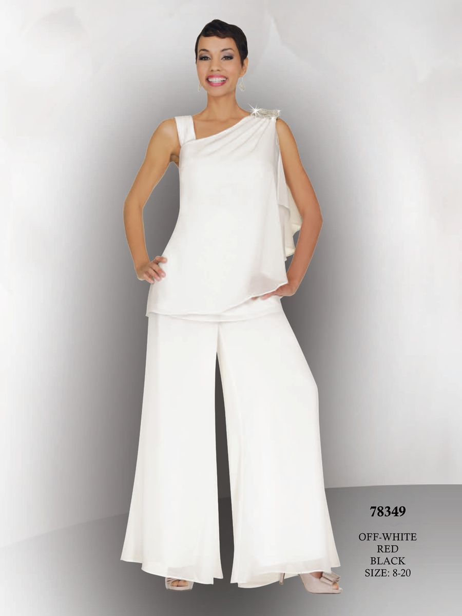 Mother of the bride pant suits white fashion with jacket for Wedding dress pant suits