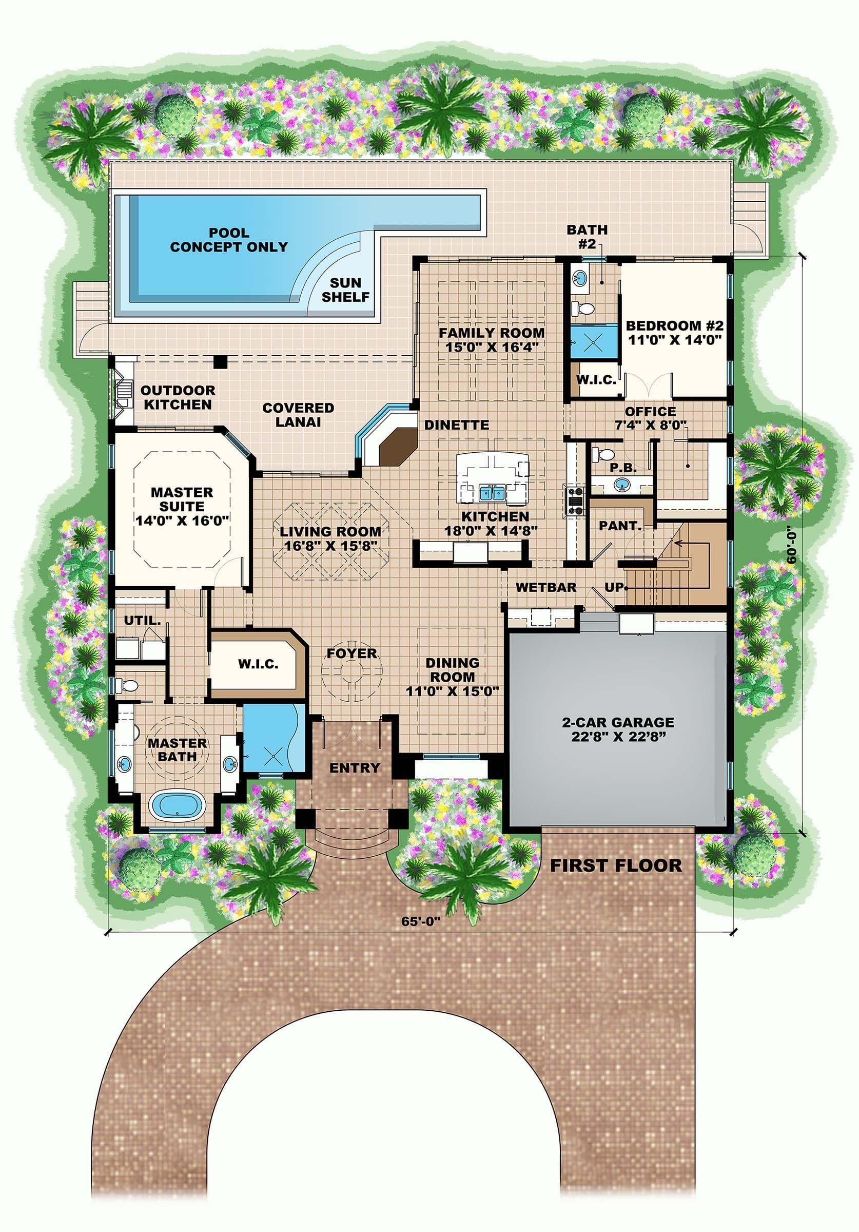 4 Bedroom Coastal House Plan With Pool 3276 Sq Ft 3 5 Bath Pool House Plans Coastal House Plans Coastal Room