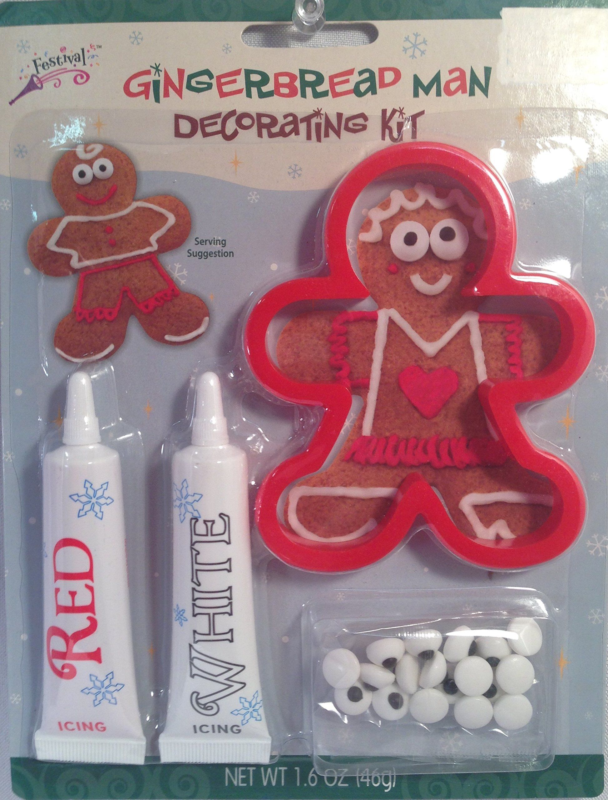 Gingerbread Man Decorating Kit w  cookie cutter  icing   candy eyes     Gingerbread Man Decorating Kit w  cookie cutter  icing   candy eyes by  Festival