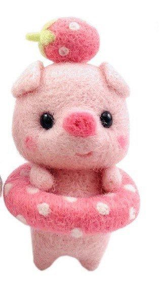 US Seller, One Mini Pink Pig, Floaty. DIY Needle Felting Kit, Fiber Art Wool Roving, Instructions Not Included. Approx 2 1/4″ Free S&H