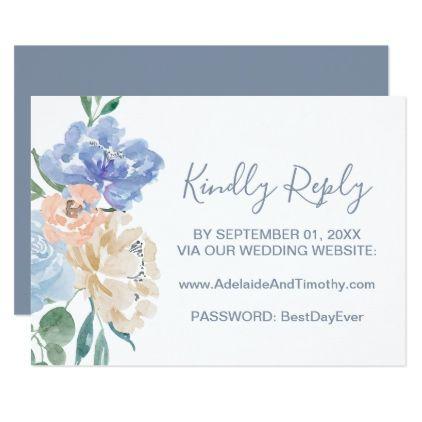 dusty blue florals wedding website rsvp card flowers floral flower