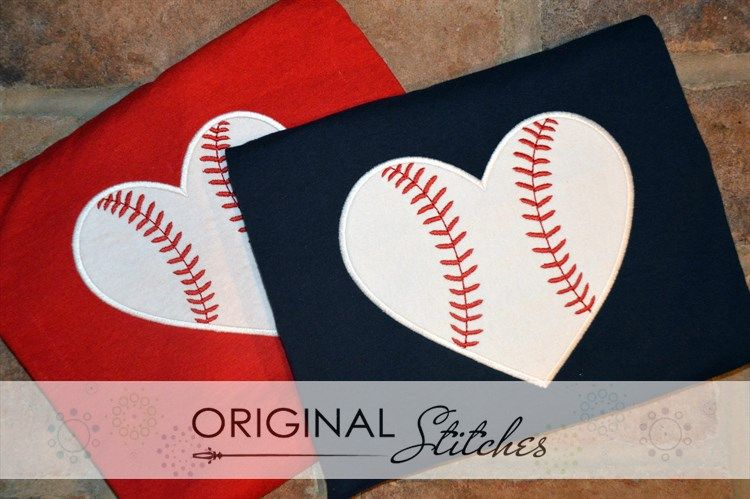 Heart Baseball Machine Embroidery and Applique Designs Downloads