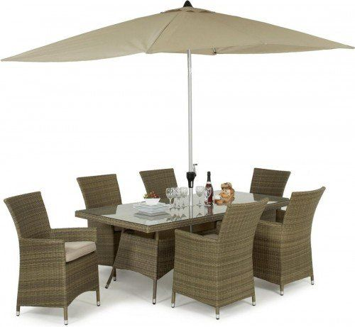 maze rattan tuscany la 6 seat rectangular dining set gardens